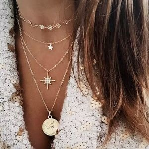Jewelry - 4 for $25⚡️layered star coin North Star necklace